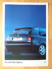VOLKSWAGEN Golf VR6 Highline rare 1995 ROYAUME-UNI marché brochure - VW