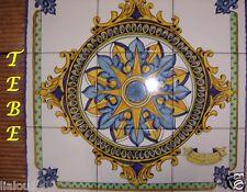 Pannello 9 mattonelle ceramica Vietri maiolica dec Tebe