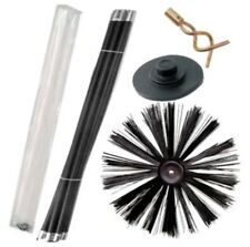 "16"" 400MM Chimney Flue Sweep Brush & 7.4M Drain Rod Set + Screw Worm and Plunger"