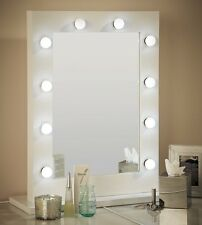 Hollywood Mirror White Gloss Illuminated Modern Dressing Table Mirror 80 x 60