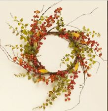 BITTERSWEET BERRIES BABY GRASS WREATH Candle Twig Floral Primitive Country Fall