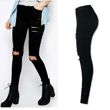 Women Denim Skinny Ripped Pant High Waist Stretch Jeans Slim Pencil Trousers  XL
