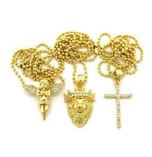 "Micro Baby Angel, Lion Head, Cross Pendant 24"" Ball Hip Hop Chain 3 Necklace Set"
