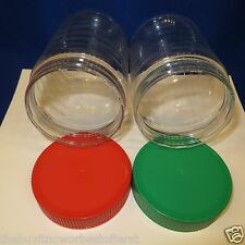 UPCYCLE CRAFT SUPPLY - (2) Clear Plastic Wide Mouth Jars - Christmas Red & Green