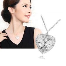 Collar En Forma De Corazón Abre Ponga Una Pequeña Foto 925 Plata Hollow Collar