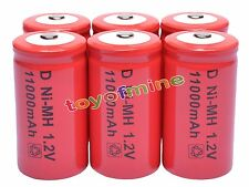 6x D size 1.2V 11000mAh Ni-MH Red Color Rechargeable Battery USA