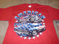 USA American Power Flag Mens Hot Rod Muscle Car Red T-Shirt Size Medium M