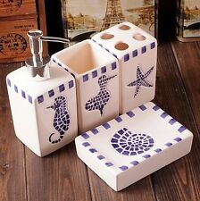 Bathroom Ceramic Set 4 PCS Blue Sea Horse Starfish Toothbrush Holder Cup Soap