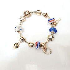 NEW Gold Red Blue Swirl Murano Beads Charm Bracelet Brighton Bay