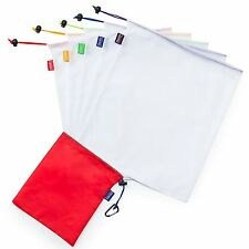 5 x Reusable Produce Bag Set With Bonus Pouch And Carabiner. Eco Friendly Bulk