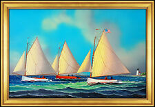 Jerome Howes Original Painting Oil on Board Signed Cape Cod Sailboat Artwork SBO
