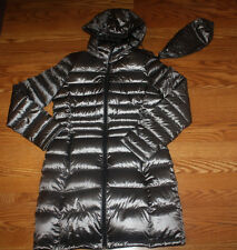 NWT Womens ANDREW MARC Gray Granite Long Hooded Puffer Duck Down Jacket Coat S