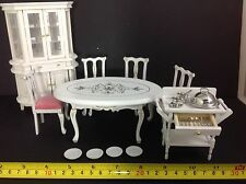 Miniature Dollhouse Dining Room White Wood Furniture w/ Accesories 1:12(NO CUPS)