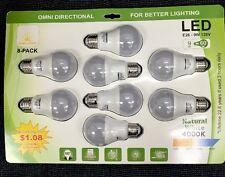 8 Pack 9w=60W LED Bulbs  4000K Natural White 806 Lumens  E26 Base