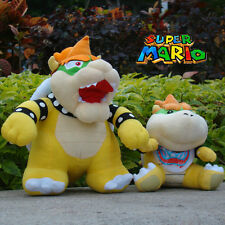 2Pcs Super Mario Bros Plush Toy Bowser Koopa & Bowser Jr. Cute Stuffed Animal
