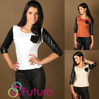 Elegant Women's Blouse with Eco Leather Top Pocket Jumper Sizes 8 -14 FA215