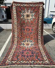 Vintage Caucasian or NW Persian Rug 5x10 with Lesghi Star Design