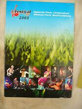 VSTAGE FESTIVAL 2003 PROGRAMME HYLANDS PARK CHELMSFORD / WESTON PARK STAFFS