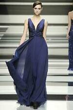 Elie Saab Fall Winter 2008/09 Runway Midnight Blue Silk gown Dress Size 40