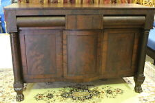 Early 19th Century Flame Mahogany American Empire Sideboard; Paw Feet Circa 1840