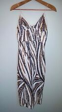 new SOLDOUT asos stretch sequin embellished club L midi prom dress us 6 s