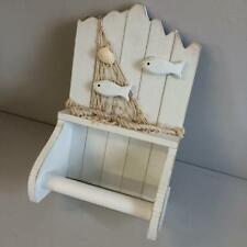 New WOODEN NAUTICAL TOILET ROLL HOLDER in White - Fish and Rope detail Bathroom