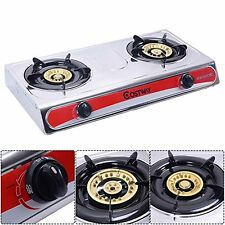 Safstar Portable Propane Gas Stove Stainless Steel Double Burner Kitchen Cooker