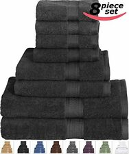 Cotton Bath Towel Set Black - 8 Piece Includes 2 Bath Towels, 2 Hand Towels, 4