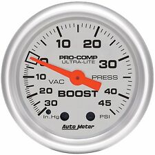 Auto Meter Ultra-Lite 30 In.Hg / 45 Psi Mechanical Boost / Vacuum Gauge 2 1/16""