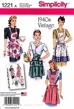 Simplicity Sewing Pattern 1221 Women's 1940s Vintage Style Aprons S-L retro