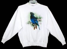Sz XL Sweat Shirt STELLER'S JAY Cotton/Poly FRUIT of the LOOM White CANADA