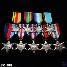 9x CAMPAIGN STAR MEDAL GROUP SET FULL COLLECTION RAF NAVY ARMY SAS WW2 REPRO