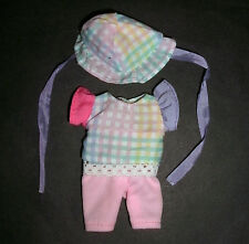 Barbie, KELLY, SHELLEY Doll clothes: Check top, hat & pink shorts, Heart family?