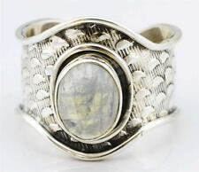 Rainbow Moon Stone Gemstone Ring Solid 925 Silver Jewelry Size 8.25 IR26938