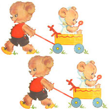 NuRSeRY TeDdY BeaR & WaGoN WiTH BaBY SHaBbY WaTerSLiDe DeCALs