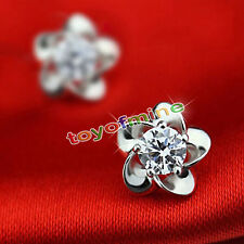 Crystal 925Sterling Silver Filled Fleur Dangle Pendentif Boucles d'oreilles Stud
