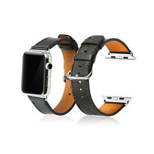 Black Genuine Her/mes Leather Wristband Watch Strap For Apple Watch iWatch 42mm