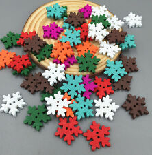 DIY 100pcs Mixed Color Christmas Snowflake Wooden Buttons Scrapbooking 18mm
