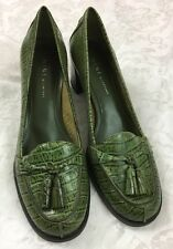 Nine & Company Olive Green Animal Print Leather Heeled Pumps Shoes Size 9M