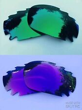 REPLACEMENT  GREEN & ENGRAVED PURPLE  MIRROR VENTED OAKLEY JAWBONE LENSES