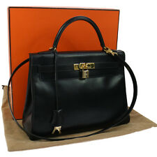 Authentic HERMES KELLY 32 2way Hand Bag Black Box Calf Vintage GHW K07582