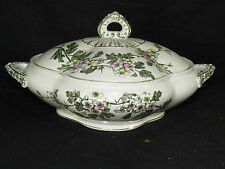 Antique T.Furnnival & Sons Staffordshire Pottery Hawthorn Bowl+Lid,Transfer Ware