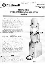 "Delta Rockwell No. 28-290 & No. 28-380 - 14"" Band Saws PM-1827 Instructions"