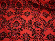 Red Damask Flocking Velvet Taffeta Fabric 60'' Wide Fabric By The Yard