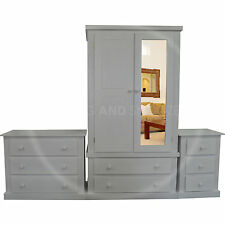 HAND MADE DEWSBURY FURNITURE 3 PIECE MIRRORED BEDROOM SET WHITE(ASSEMBLED)