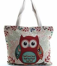 Cute Owl fabrics JUTE Bag Shoulder Bag Large Tote
