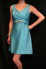 S Turquoise Blue Shantung Vtg 60s Empire Rhinestone MINI Cocktail Party Dress
