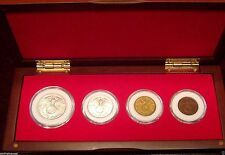 German WW 2 Collection Cherry Wood Display Box Set w/ 4 German Third Reich Coins