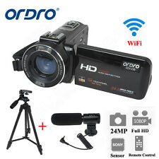 ORDRO 24MP FHD 1080P Digital Video Camcorder Camera DV DVR W/ Microphone &Tripod