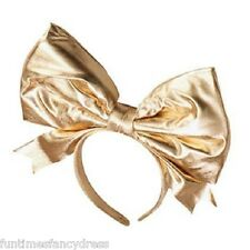 Lady Gaga Large Gold Metallic Bow Headband Fancy Dress 1980's 80's Fancy Dress